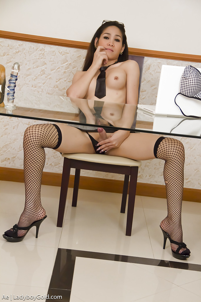 Young Asian shemale Ae gets kinky at the office by stripping nude