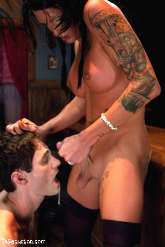 ... Horny big tittied shemale Morgan Bailey dominating a guy's asshole ...