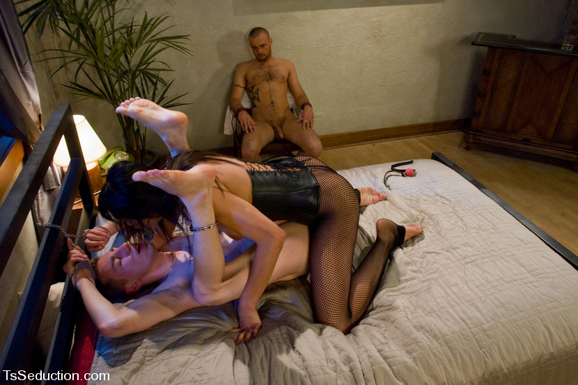 Dirty Asian ladyboy Yasmin Lee enjoying two throbbing hard dicks
