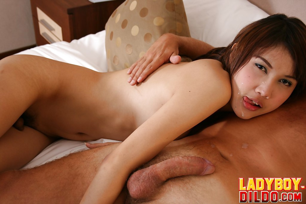 Young brunette Thai ladyboy Oa sucking a cock and getting a cumshot