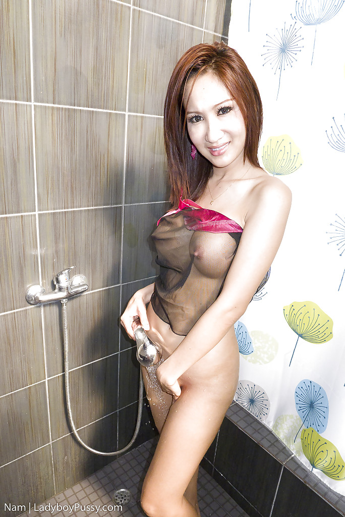 Cute Asian shemale Nam stretches her gaping asshole in shower