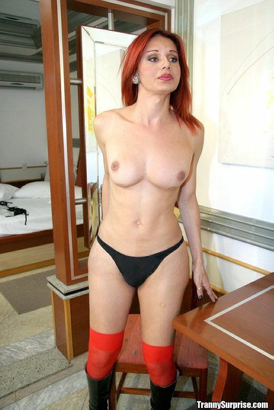 Busty red stocking