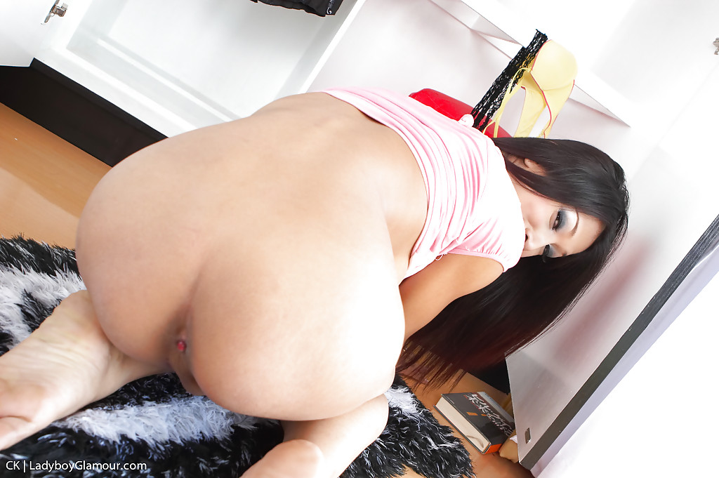 Solo Asian tranny CK toying her tranny ass and jerking uncut cock