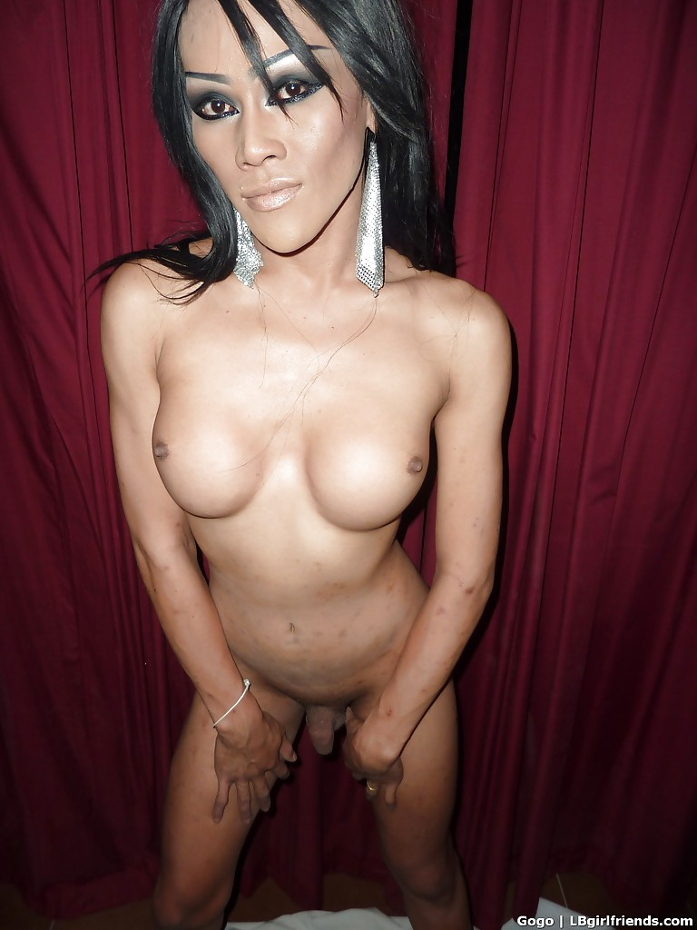 Kinky Asian ladyboy showing off her big tits and spreading her asshole